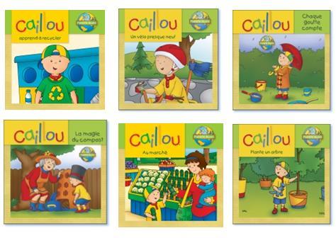 livres pour enfants sur l'environnement avec Caillou