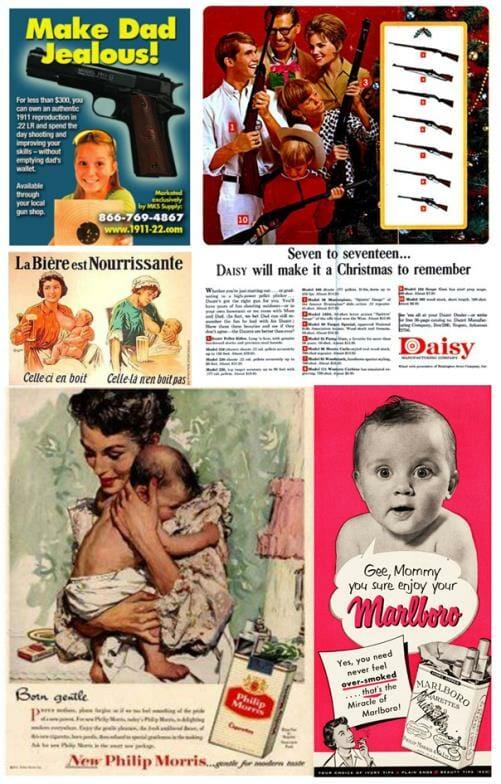 Enfant dans la publicité : tabac, alcool, arme, cigarettes...
