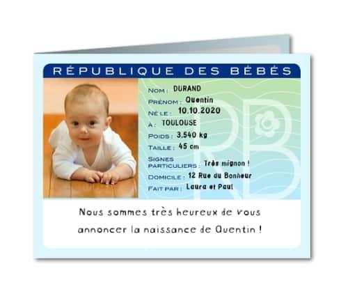Faire-part de naissance : carte d'identité