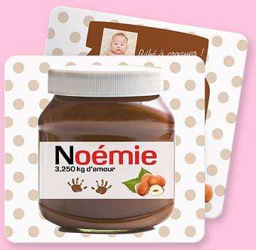 Faire-part de naissance : Nutella