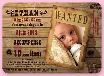 Faire-part de naissance : wanted