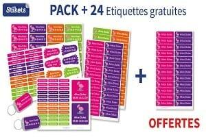 24 étiquettes stikets gratuites pour l'achat d'un pack