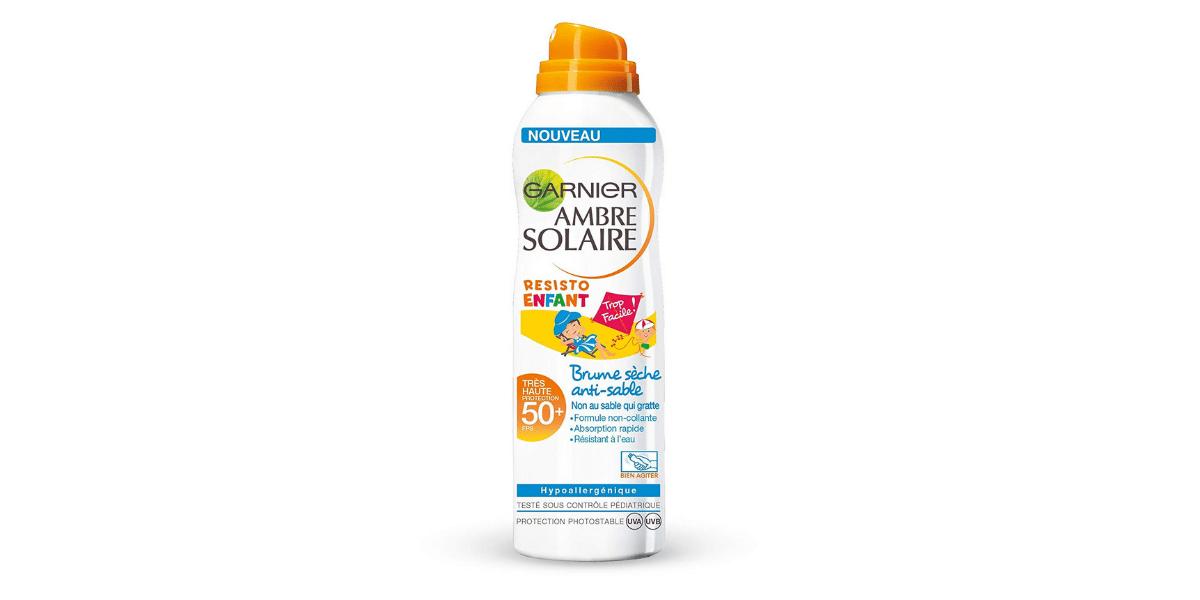 Crème-solaire-bébé-Garnier-Ambre-Solaire-Brume-sèche-antisable-50+