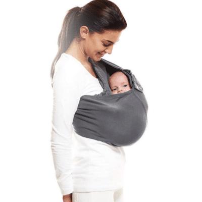écharpe de portage grise pour bébé marque Wallaboo