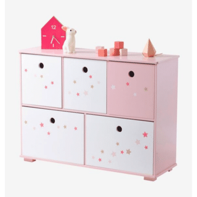meuble de rangement enfant rose 5 bacs Ligne Féerie marque vertbaudet