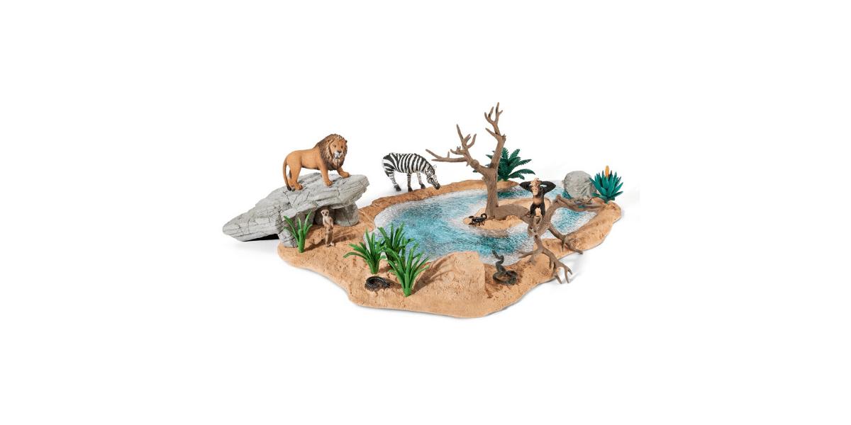 Point-eau-avec-figurines-animaux-sauvages-Schleich