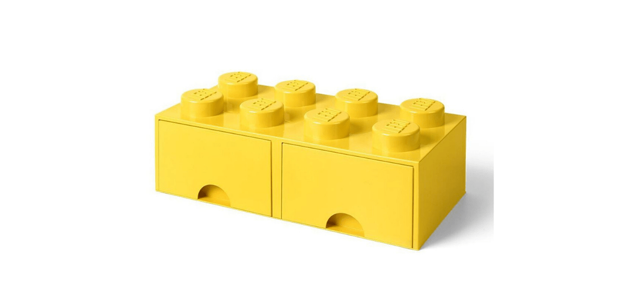 brique de rangement jaune marque LEGO