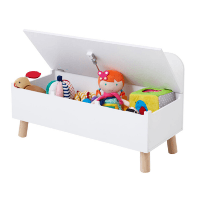 coffre à jouets en bois blanc marque Oxybul