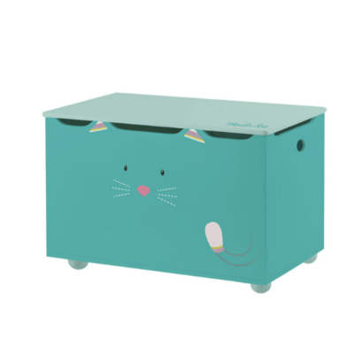coffre à jouets cyan Les Pachats marque Moulin Roty