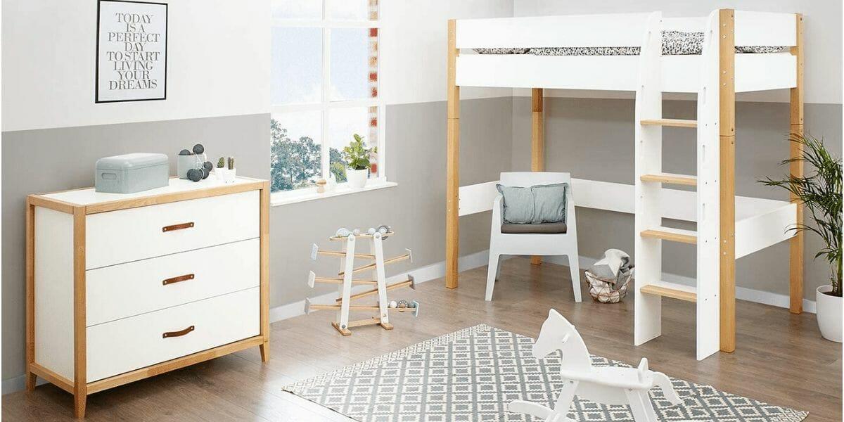 lit mezzanine en bois pour enfant marque Pinolino