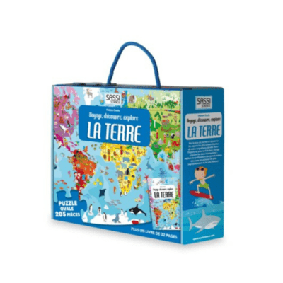 puzzle enfant à la découverte du monde + livret marque Sassi
