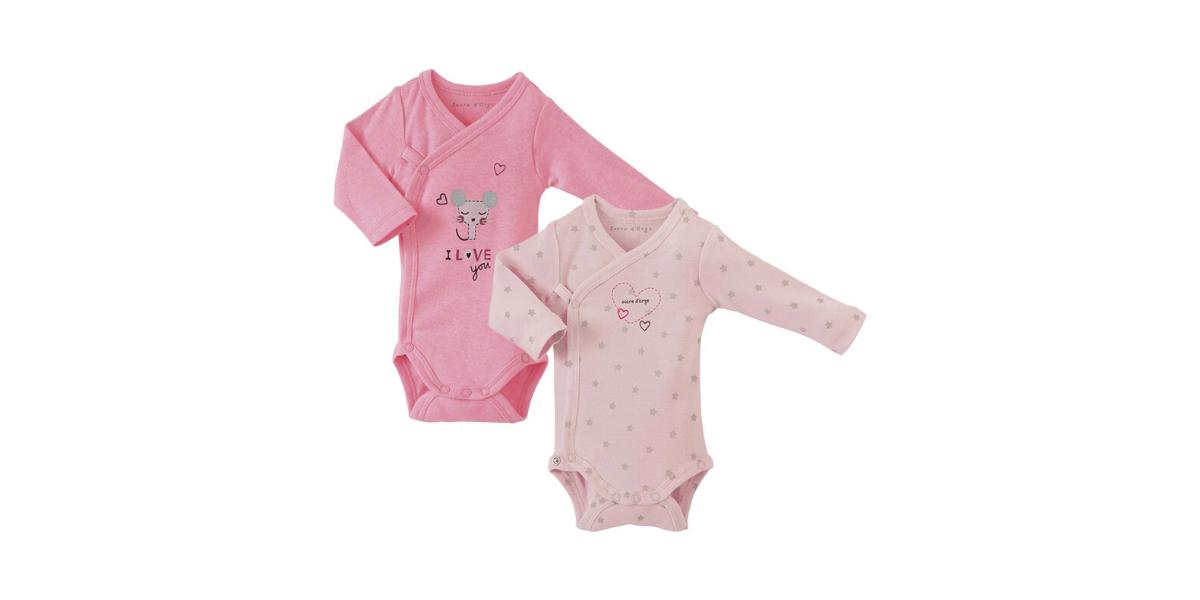2 body bébé rose marque Sucre d'Orge
