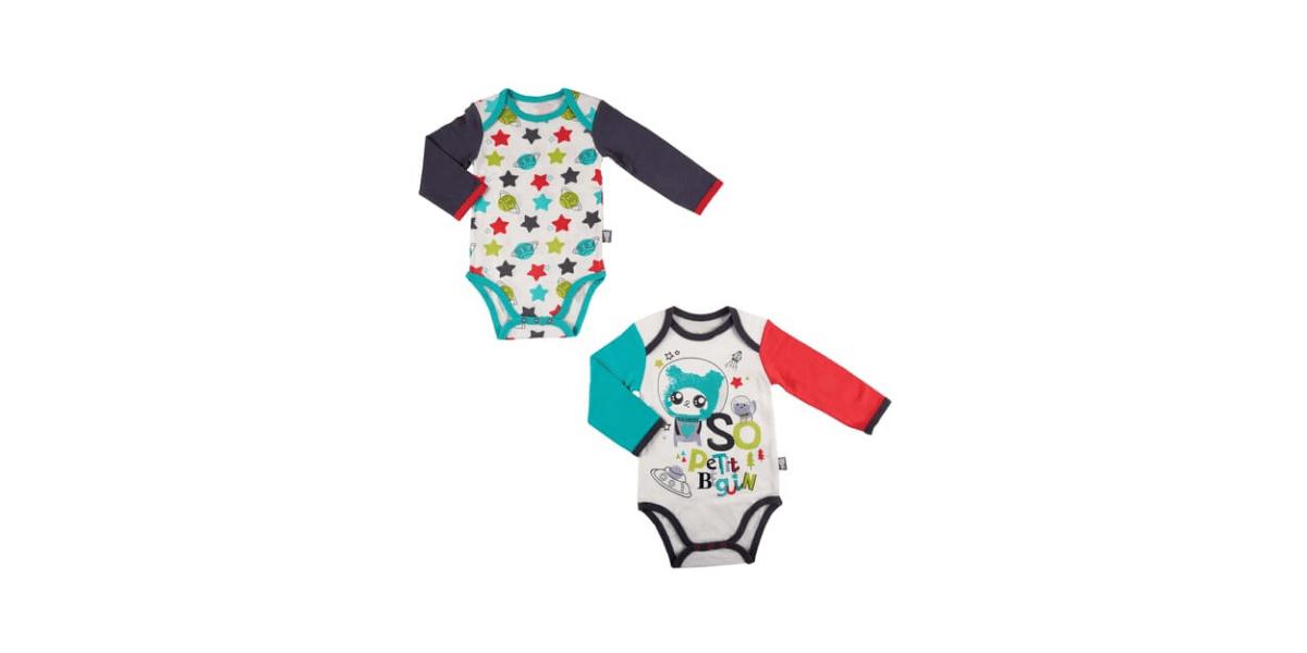 2 body bébé colorés marque Petit Beguin