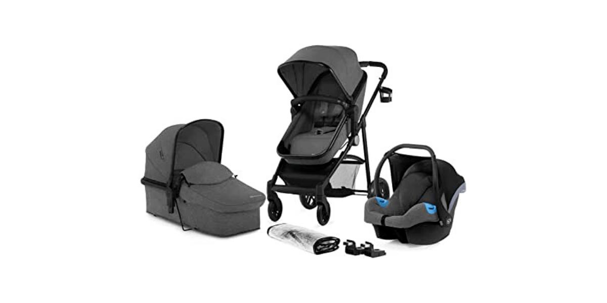 poussette naissance + nacelle + siège auto gris 3 en 1 JULI marque KinderKraft
