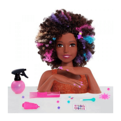Tête-coiffer-brune-coupe-afro-Barbie