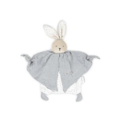 doudou lapin gris et blanc