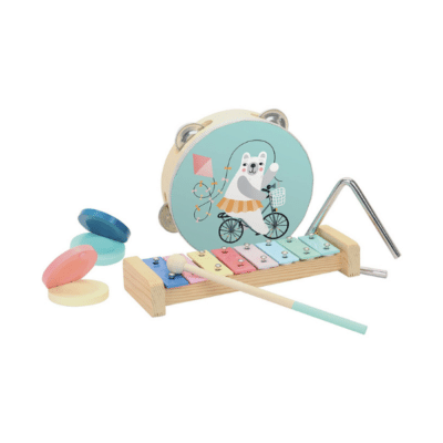 instruments musique marque Djeco 2 castagnettes, 1 xylophone avec son maillet, 1 tambourin 1 triangle