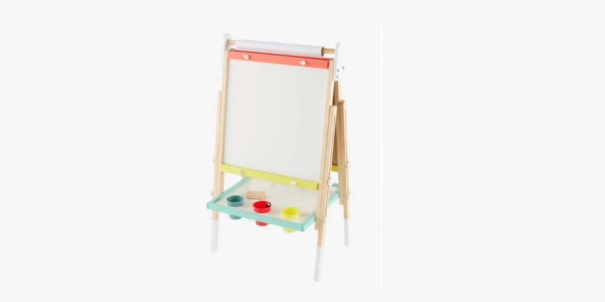 tableau blanc avec pots de peinture marque vertbaudet