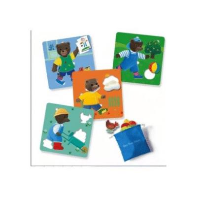 carte et pièce du jeu loto petit ours brun