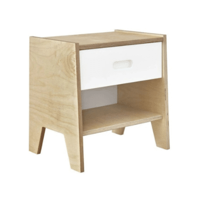 table nuit en bois avec tiroir blanc marque Akiten Retail