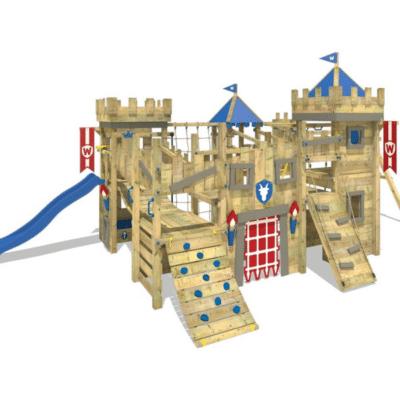 aire de jeux pour enfant ressemble à un chateau fort marque wickey
