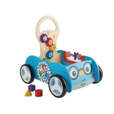 Trotteur bleu forme voiture marque Hape Toys Buggy Aventure