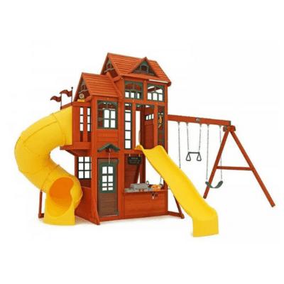 structure en bois avec toboggan tubulaire jaune et balançoires marque KidKraft