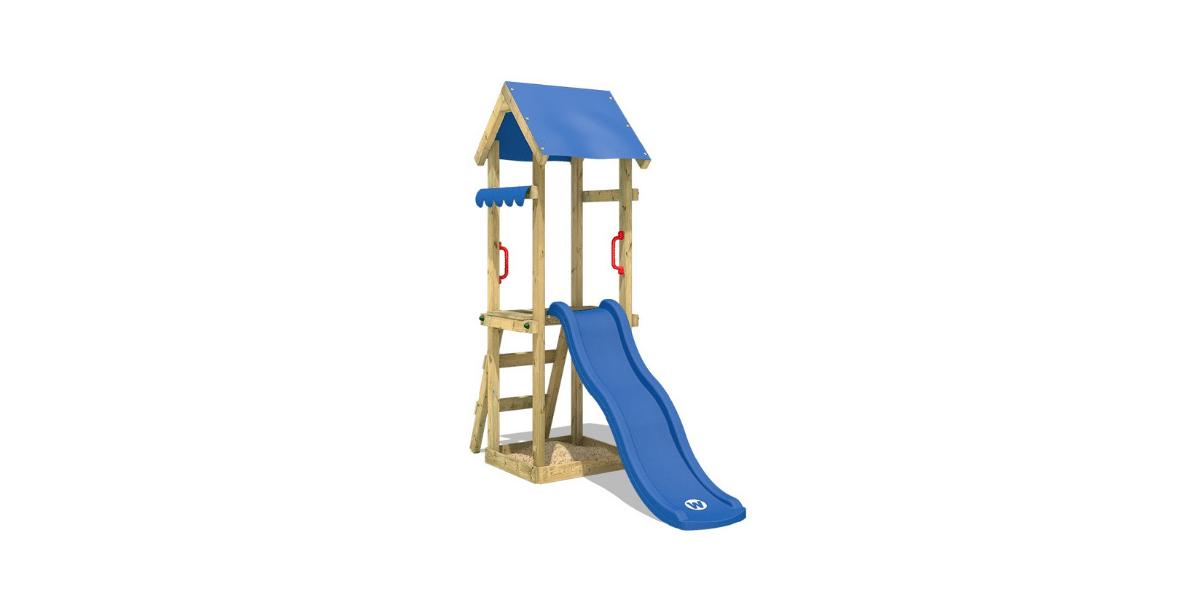toboggan bleu et structure en bois marque wickey