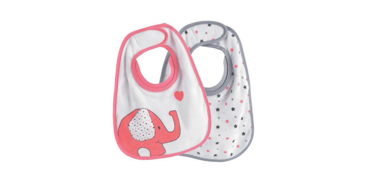 bavoir rose avec un éléphant et un gris avec de petites étoiles marque trois kilos sept