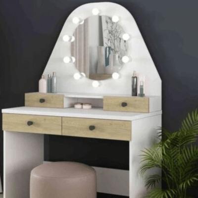 coiffeuse enfnat blanche avec tiroirs bois miroir et lumière autour marque Terre de nuit